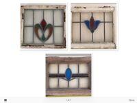3x Vintage Stain Glass Window