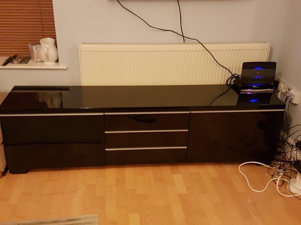IKEA BESTA BLACK GLOSS TV UNIT