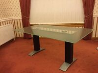 Stunning Large Glass and Steel Dining Table - 1.0 x 1.8 metres