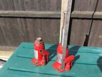 TWO VINTAGE NIKE SWEDEN 12 TON HYDRAULIC BOTTLE JACKS