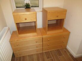2 Matching 3 Drawer Chests and 2 Matching Bedside tables