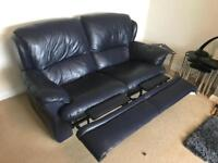 Blue recliner leather sofa. 2 seater and 3 seater.