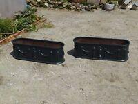 Pair of Large Cast Iron Garden Planter Victorian? Cast Metal Trough Planters