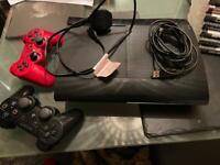 PLAYSTATION 3 PS3 CONSOLE SUPER SLIM 2 CONTROLLERS 10 GAMES