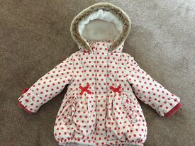 M&S lovely girls coat, size 12-18 months