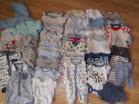 newborn baby boys clothes bundle, 47 items