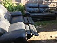 Black lether recliner sofa 3 seater plus 2 seater
