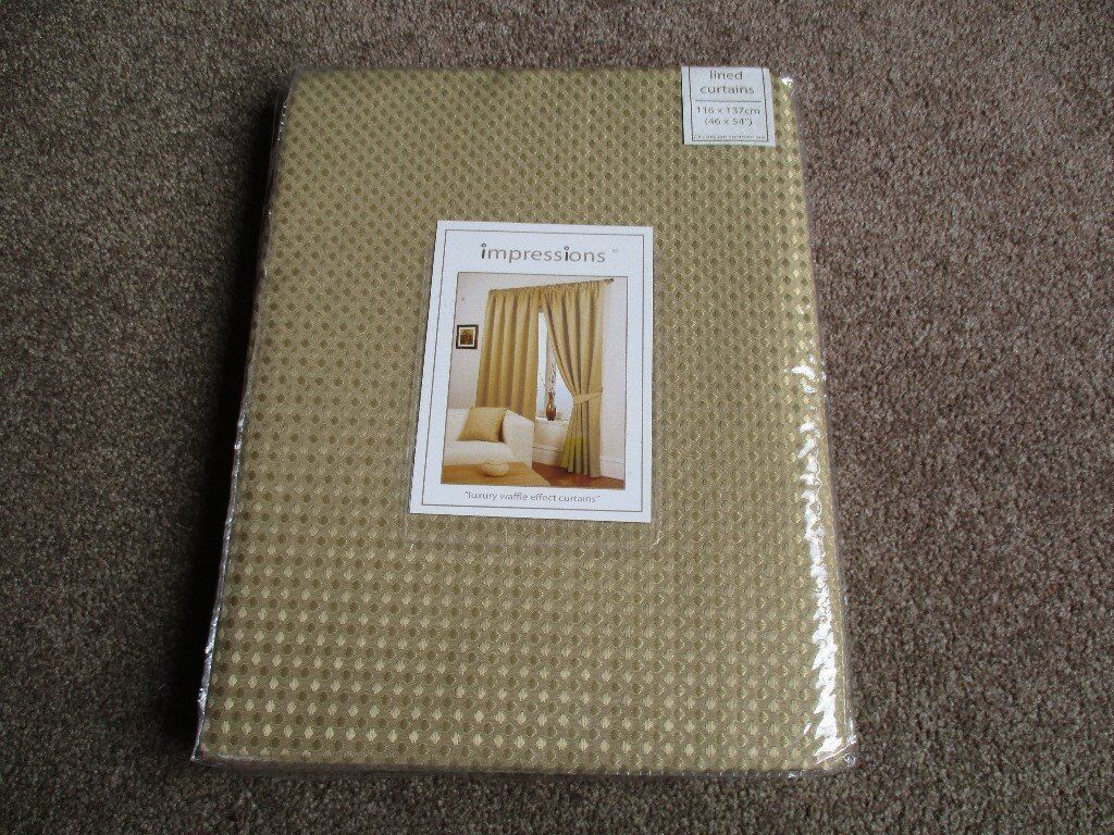 "New Lined Curtains - 46"" x 54"" - 116 x 137 - Gold Colour - £10 per pair (2 pairs available)"