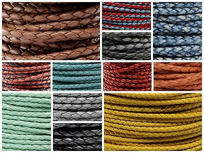 Genuine Round Bolo Braided Leather Cord 3 MM 1/8