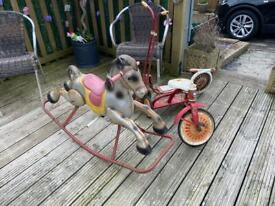 Antique vintage rocking horse.with Vintage bikes