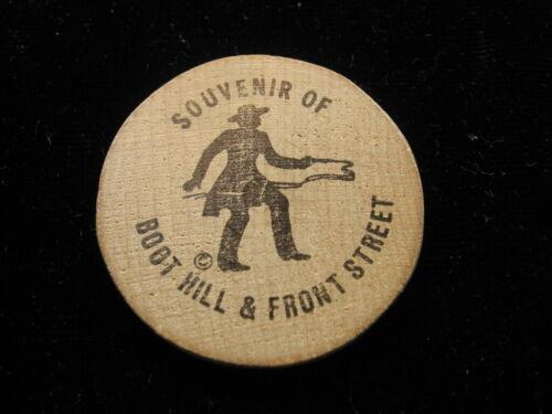 """Souvenir wooden nickel token coin Boot Hill Dodge City Kansas """"gun fighter"""" 423"""