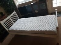 Single bed white (with mattress), good condition