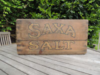 Vintage Wooden Saxa Salt Crate