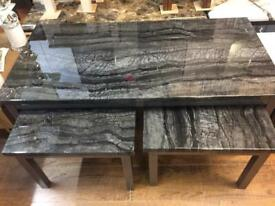 Marble effect coffee table set