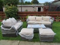 Rattan garden furniture set with 2 sofa and glass top coffee table- New & Sealed