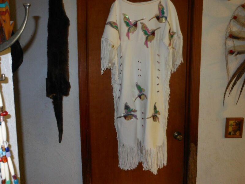 NATIVE AMERICAN HUMMINGBIRD EMBROIDERY BUCKSKIN DRESS SZ 7/8