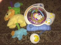 VTech Sleepy Bear Sweet dreams wall projector musical cot mobile, Mothercare pull musical toy