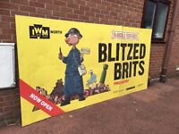 Large Aluminium Advertising Sign - From Manchester Imperial War Museum - 10 ft By 5 ft