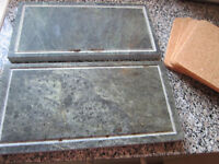2 x grey marble STEAK STONES with heat protectors -Used once so Excellent condition