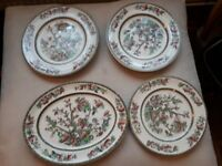 JOHNSONS INDIAN TREE CHINA. 6 X DINNER PLATES. 1X OVAL SERVING PLATE