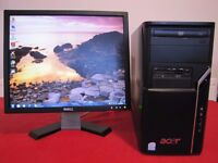 Acer Aspire M1640 Desktop PC - DUO 2,8GHz, 4GB RAM, 500GB HDD, Win7, MS Office Monitor DELL