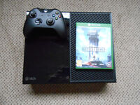 xbox one with controller, wires and battlefront