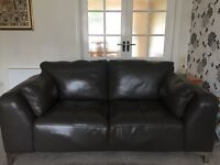 Leather sofa, 2 seater and 4 seater