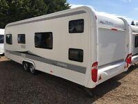 Hobby Caravan 650 Kfu Prestige (2011) bunk beds, motor movers, air con, awning. Fendt/Tabbert