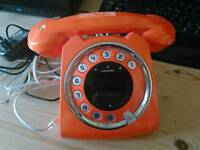 Orange retro style wireless landline home phone sixty