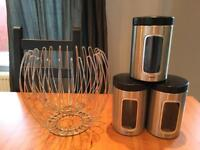 Chrome fruit bowl and 3 kitchen canisters