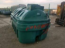 Bunded 2500 litre diesel storage tank bowser with filling hose and nozzle tractor digger etc