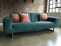 Koinor contemporary design blue leather sofa - nearly new