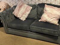 X2 4 seater grey velvet Chesterfield sofa