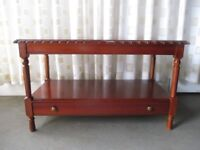 MCDONAGH FURNITURE MODERN MAHOGANY EFFECT TWO TIER COFFEE TABLE WITH STORAGE DRAWER