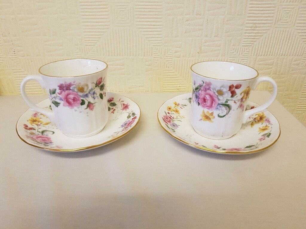 TEA CUPS & SAUCERS - FLORAL PATTERN (2)