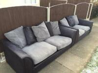 BLACK & GREY FABRIC 3 & 2 SEATER SOFA -FREE DELIVERY