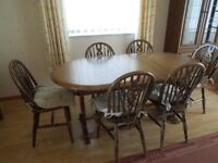 Dark oak table expandable, 6 chairs,
