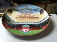 14 carrot gold plated lined Liverpool football club, wall plate, as new condition