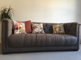 Dark Grey Fabric 2 Seater Chesterfield DFS