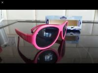 Pink Babiatirs sunglasses for ages 3-7. Unbreakable