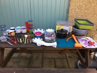 Large collection of camping kitchen utensils