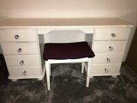 White pine dressing table and stool