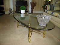 Twin Matching Set Of Beveled Glass Coffee Table & Matching Corner Lamp Table