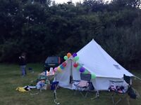 Bell Tent for sale. 6 person, 2 years old. Good condition, Includes wood burner vent, all pegs.