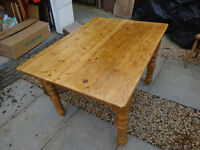 Reclaimed pine kitchen / dining table and matching chairs