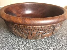 Hand carved African wooden large bowl