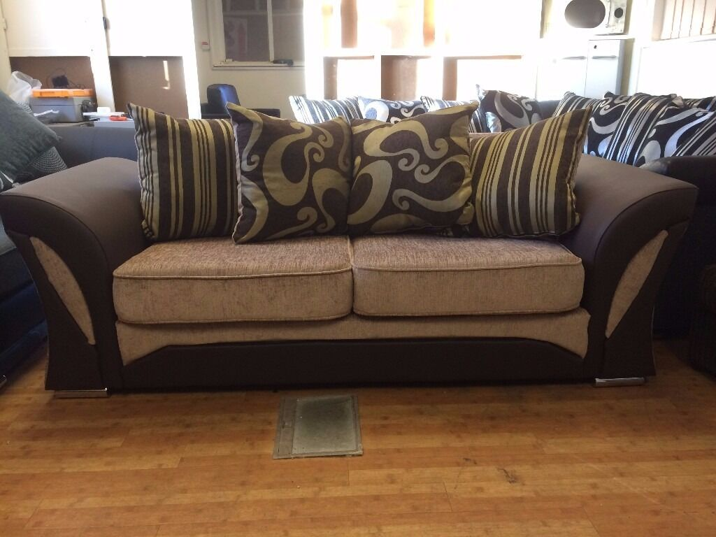 Brand New Brown & Beige Shannon Fabric 3 Seat Sofa - £150 Including Free Local Delivery