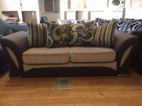 Brand New Brown & Beige Shannon Fabric 3 Seat Sofa - £249 Including Free Local Delivery