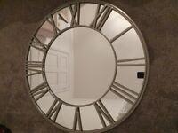 Large wall mirror roman numerals clock style grey 90cm