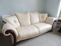 3 Piece Cream Leather Sofa Suite, 1 x 2 Seater & 2 x 3 Seater